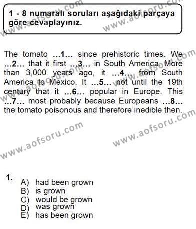 İngilizce Öğretmenliği Bölümü 3. Yarıyıl Bağlamsal Dilbilgisi III Dersi 2013 Yılı Güz Dönemi Ara Sınavı 1. Soru