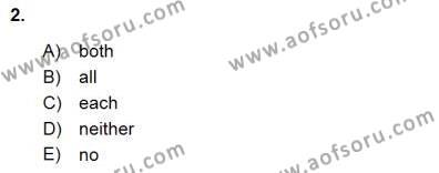 İngilizce Öğretmenliği Bölümü 3. Yarıyıl Bağlamsal Dilbilgisi III Dersi 2016 Yılı Güz Dönemi Dönem Sonu Sınavı 2. Soru