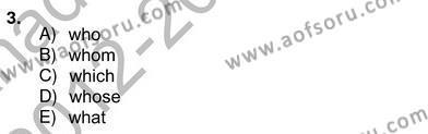 İngilizce Öğretmenliği Bölümü 4. Yarıyıl Bağlamsal Dilbilgisi IV Dersi 2013 Yılı Bahar Dönemi Ara Sınavı 3. Soru