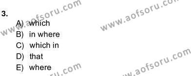 İngilizce Öğretmenliği Bölümü 4. Yarıyıl Bağlamsal Dilbilgisi IV Dersi 2014 Yılı Bahar Dönemi Ara Sınavı 3. Soru