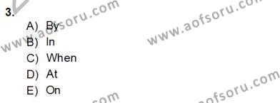 İngilizce Öğretmenliği Bölümü 4. Yarıyıl Bağlamsal Dilbilgisi IV Dersi 2014 Yılı Bahar Dönemi Dönem Sonu Sınavı 3. Soru