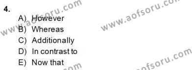 İngilizce Öğretmenliği Bölümü 4. Yarıyıl Bağlamsal Dilbilgisi IV Dersi 2014 Yılı Bahar Dönemi Dönem Sonu Sınavı 4. Soru