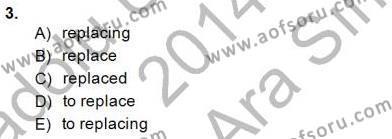 İngilizce Öğretmenliği Bölümü 4. Yarıyıl Bağlamsal Dilbilgisi IV Dersi 2015 Yılı Bahar Dönemi Ara Sınavı 3. Soru