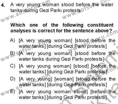 Dilbilim 1 Dersi 2013 - 2014 Yılı Dönem Sonu Sınavı 4. Soru