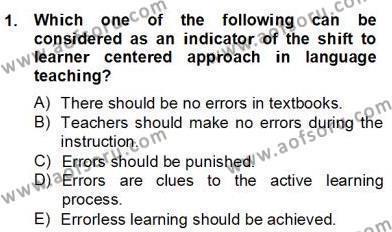 İngilizce Öğretmenliği Bölümü 6. Yarıyıl Dilbilim II Dersi 2013 Yılı Bahar Dönemi Dönem Sonu Sınavı 1. Soru