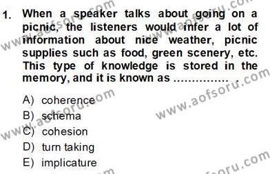 İngilizce Öğretmenliği Bölümü 6. Yarıyıl Dilbilim II Dersi 2014 Yılı Bahar Dönemi Dönem Sonu Sınavı 1. Soru