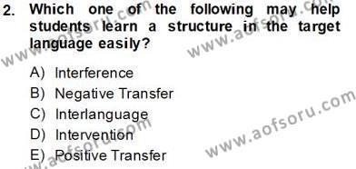 Dilbilim 2 Dersi 2013 - 2014 Yılı Tek Ders Sınavı 2. Soru