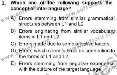 Dilbilim 2 Dersi 2013 - 2014 Yılı Tek Ders Sınavı 3. Soru