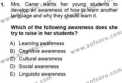 Çocuklara Yabancı Dil Öğretimi 1 Dersi 2012 - 2013 Yılı Ara Sınavı 1. Soru