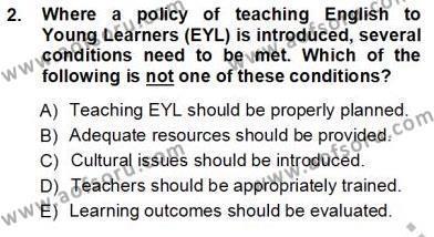 Çocuklara Yabancı Dil Öğretimi 1 Dersi 2012 - 2013 Yılı Ara Sınavı 2. Soru