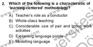 Çocuklara Yabancı Dil Öğretimi 1 Dersi 2013 - 2014 Yılı Ara Sınavı 2. Soru