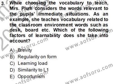 Çocuklara Yabancı Dil Öğretimi 1 Dersi 2013 - 2014 Yılı Ara Sınavı 3. Soru