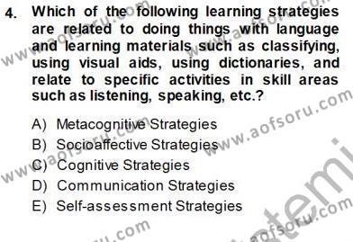 Çocuklara Yabancı Dil Öğretimi 1 Dersi 2013 - 2014 Yılı Ara Sınavı 4. Soru