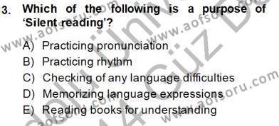 Çocuklara Yabancı Dil Öğretimi 1 Dersi 2013 - 2014 Yılı (Final) Dönem Sonu Sınav Soruları 3. Soru