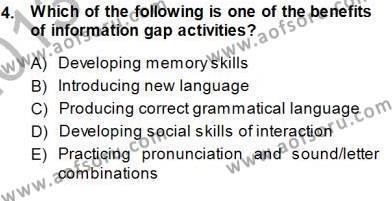 Çocuklara Yabancı Dil Öğretimi 1 Dersi 2013 - 2014 Yılı (Final) Dönem Sonu Sınav Soruları 4. Soru
