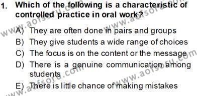 Çocuklara Yabancı Dil Öğretimi 1 Dersi 2013 - 2014 Yılı Tek Ders Sınavı 1. Soru