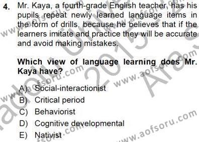 Çocuklara Yabancı Dil Öğretimi 1 Dersi 2015 - 2016 Yılı Ara Sınavı 4. Soru
