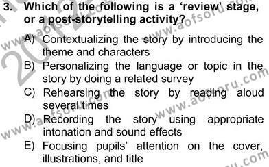 İngilizce Öğretmenliği Bölümü 6. Yarıyıl Çocuklara Yabancı Dil Öğretimi II Dersi 2013 Yılı Bahar Dönemi Ara Sınavı 3. Soru