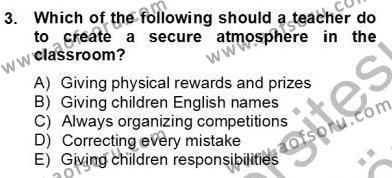 İngilizce Öğretmenliği Bölümü 6. Yarıyıl Çocuklara Yabancı Dil Öğretimi II Dersi 2013 Yılı Bahar Dönemi Dönem Sonu Sınavı 3. Soru