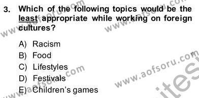 Çocuklara Yabancı Dil Öğretimi 2 Dersi 2013 - 2014 Yılı Ara Sınavı 3. Soru