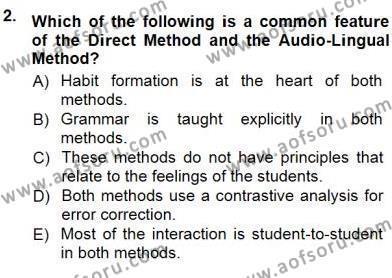 İngilizce Öğretiminde Yaklaşımlar Dersi 2012 - 2013 Yılı Dönem Sonu Sınavı 2. Soru