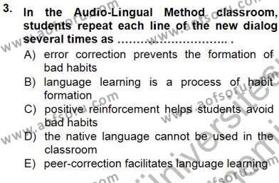 İngilizce Öğretiminde Yaklaşımlar Dersi 2012 - 2013 Yılı Dönem Sonu Sınavı 3. Soru