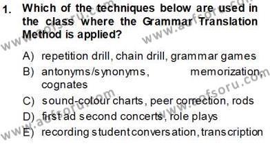 İngilizce Öğretiminde Yaklaşımlar Dersi 2013 - 2014 Yılı Ara Sınavı 1. Soru