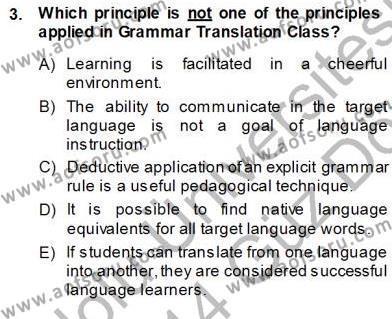 İngilizce Öğretiminde Yaklaşımlar Dersi 2013 - 2014 Yılı Ara Sınavı 3. Soru