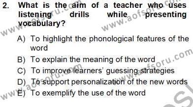 Okuma Ve Dinleme Öğretimi Dersi 2012 - 2013 Yılı Ara Sınavı 2. Soru