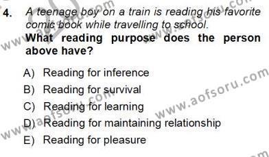 Okuma Ve Dinleme Öğretimi Dersi 2012 - 2013 Yılı Ara Sınavı 4. Soru