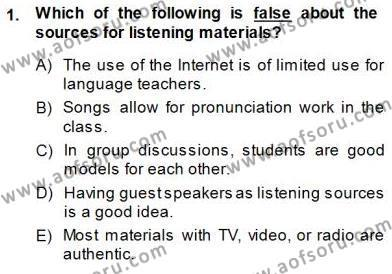 Okuma Ve Dinleme Öğretimi Dersi 2013 - 2014 Yılı (Final) Dönem Sonu Sınav Soruları 1. Soru