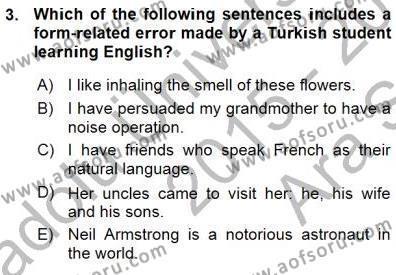 İngilizce Öğretmenliği Bölümü 5. Yarıyıl Okuma Ve Dinleme Öğretimi Dersi 2016 Yılı Güz Dönemi Ara Sınavı 3. Soru