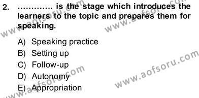 Konuşma Ve Yazma Öğretimi Dersi 2013 - 2014 Yılı Ara Sınavı 2. Soru