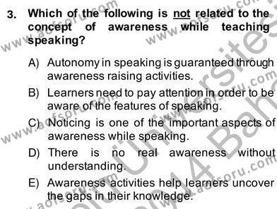 Konuşma Ve Yazma Öğretimi Dersi 2013 - 2014 Yılı (Vize) Ara Sınav Soruları 3. Soru