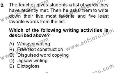 Konuşma Ve Yazma Öğretimi Dersi 2014 - 2015 Yılı Dönem Sonu Sınavı 2. Soru