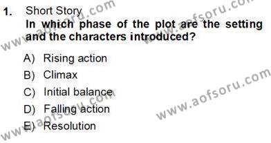 İngiliz/Amerikan Edebiyatı 1 Dersi 2012 - 2013 Yılı (Vize) Ara Sınav Soruları 1. Soru