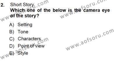 İngiliz/Amerikan Edebiyatı 1 Dersi 2012 - 2013 Yılı (Vize) Ara Sınav Soruları 2. Soru