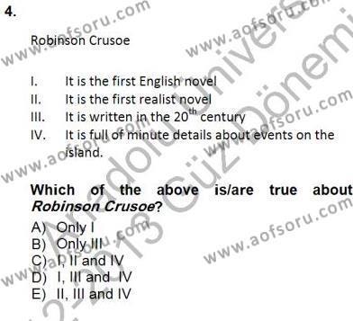 İngilizce Öğretmenliği Bölümü 5. Yarıyıl İngiliz/Amerikan Edebiyatı I Dersi 2013 Yılı Güz Dönemi Dönem Sonu Sınavı 4. Soru