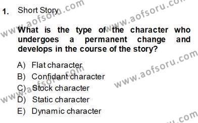 İngiliz/Amerikan Edebiyatı 1 Dersi 2013 - 2014 Yılı Ara Sınavı 1. Soru