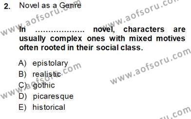 İngilizce Öğretmenliği Bölümü 5. Yarıyıl İngiliz/Amerikan Edebiyatı I Dersi 2014 Yılı Güz Dönemi Dönem Sonu Sınavı 2. Soru