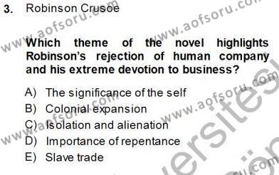 İngilizce Öğretmenliği Bölümü 5. Yarıyıl İngiliz/Amerikan Edebiyatı I Dersi 2014 Yılı Güz Dönemi Dönem Sonu Sınavı 3. Soru