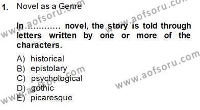 İngiliz/Amerikan Edebiyatı 1 Dersi 2014 - 2015 Yılı Dönem Sonu Sınavı 1. Soru