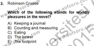 İngiliz/Amerikan Edebiyatı 1 Dersi 2014 - 2015 Yılı Dönem Sonu Sınavı 3. Soru