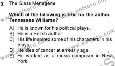 İngilizce Öğretmenliği Bölümü 6. Yarıyıl İngiliz/Amerikan Edebiyatı II Dersi 2014 Yılı Bahar Dönemi Tek Ders Sınavı 3. Soru