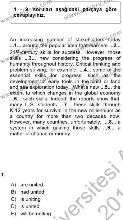 İngilizce Öğretmenliği Bölümü 7. Yarıyıl Pedagojik Gramer I Dersi 2016 Yılı Güz Dönemi Ara Sınavı 1. Soru