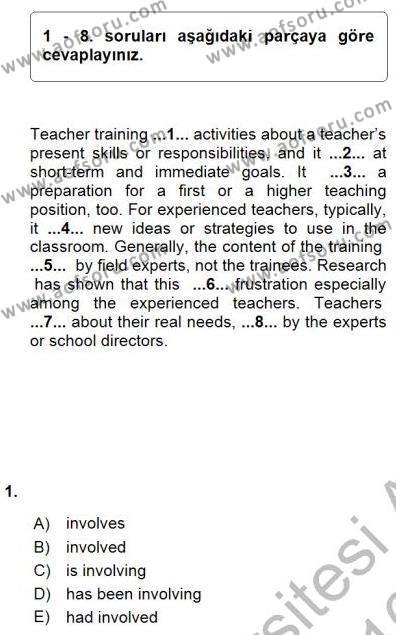 İngilizce Öğretmenliği Bölümü 7. Yarıyıl Pedagojik Gramer I Dersi 2016 Yılı Güz Dönemi Dönem Sonu Sınavı 1. Soru