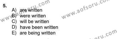 İngilizce Öğretmenliği Bölümü 8. Yarıyıl Pedagojik Gramer II Dersi 2013 Yılı Bahar Dönemi Ara Sınavı 5. Soru