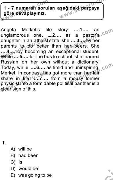 Pedagojik Gramer 2 Dersi 2013 - 2014 Yılı Ara Sınavı 1. Soru