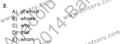 İngilizce Öğretmenliği Bölümü 8. Yarıyıl Pedagojik Gramer II Dersi 2014 Yılı Bahar Dönemi Dönem Sonu Sınavı 2. Soru