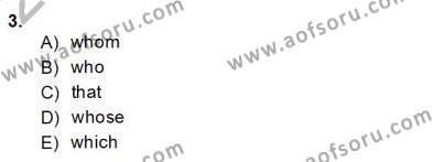 İngilizce Öğretmenliği Bölümü 8. Yarıyıl Pedagojik Gramer II Dersi 2014 Yılı Bahar Dönemi Dönem Sonu Sınavı 3. Soru